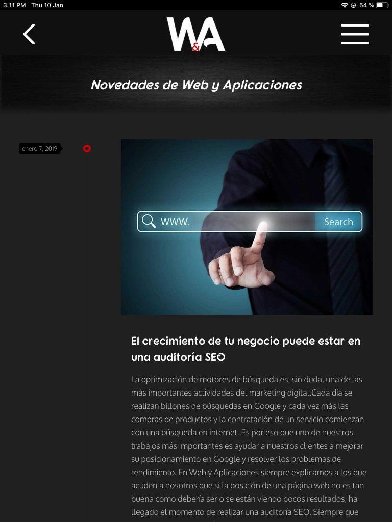 Novedades Web y App iPad