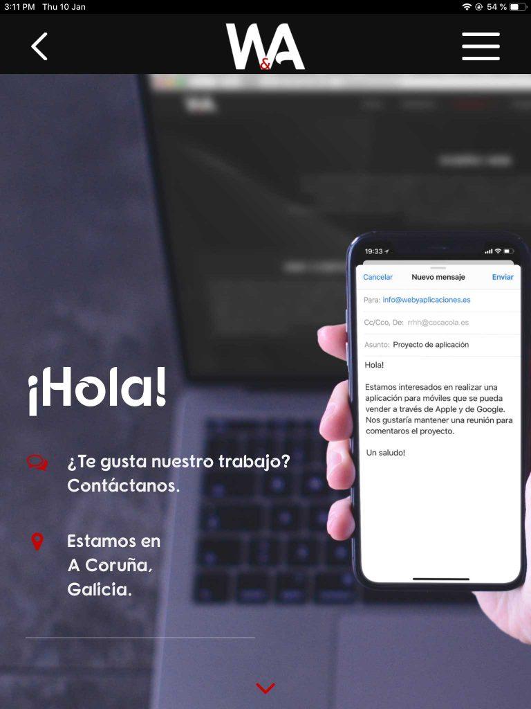 Contacto Web y App iPad